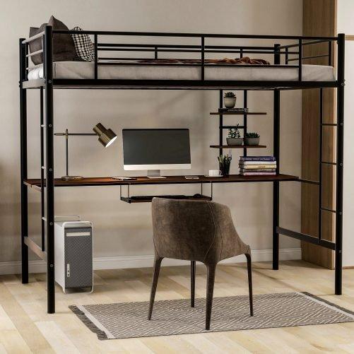 Loft bed with Dsek and Shelf , Space Saving Design 1