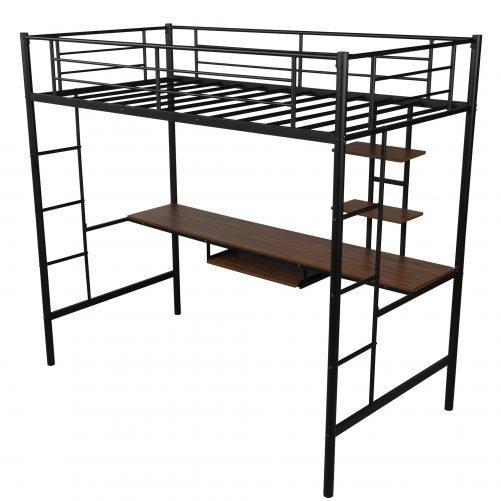 Loft bed with Dsek and Shelf , Space Saving Design 9