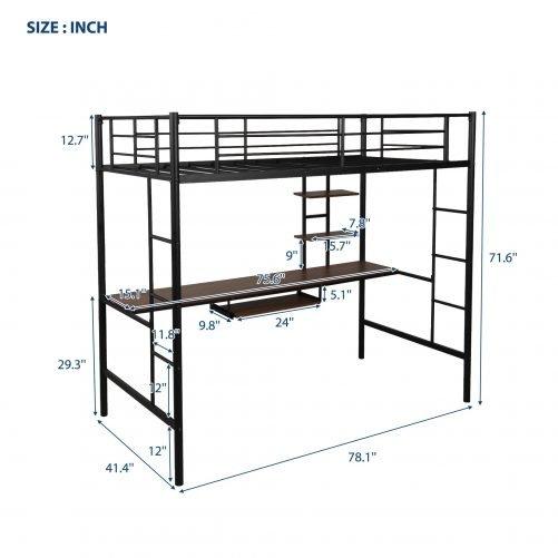 Loft bed with Dsek and Shelf , Space Saving Design 10