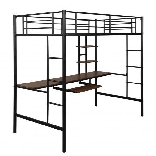 Loft bed with Dsek and Shelf , Space Saving Design 8
