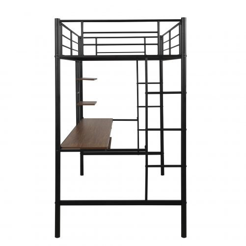 Loft bed with Dsek and Shelf , Space Saving Design 11