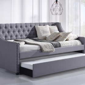Daybed with Trundle Upholstered Tufted Sofa Bed -- Twin Size, Beige 10