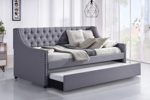 Daybed with Trundle Upholstered Tufted Sofa Bed -- Twin Size, Beige 1