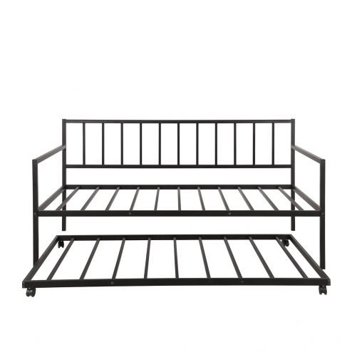 Twin Daybed with Trundle Multifunctional Metal Lounge Daybed Frame for Living Room Guest Room 10
