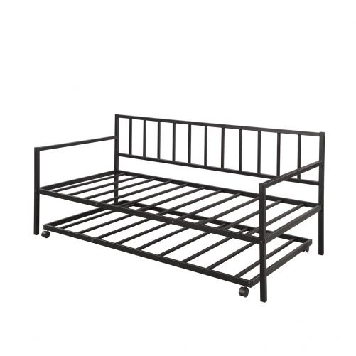 Twin Daybed with Trundle Multifunctional Metal Lounge Daybed Frame for Living Room Guest Room 4
