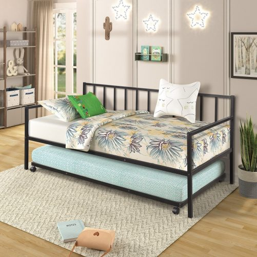 Twin Daybed with Trundle Multifunctional Metal Lounge Daybed Frame for Living Room Guest Room 14