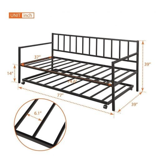 Twin Daybed with Trundle Multifunctional Metal Lounge Daybed Frame for Living Room Guest Room 12