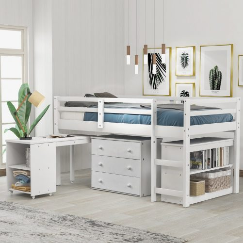 Low Study Twin Loft Bed with Cabinet and Rolling Portable Desk 10