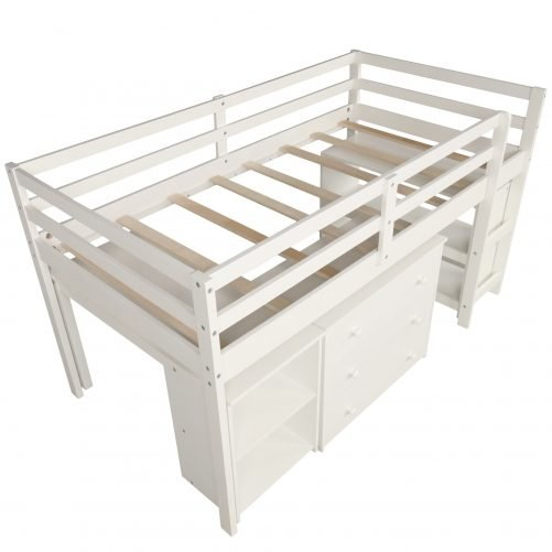 Low Study Twin Loft Bed with Cabinet and Rolling Portable Desk 3
