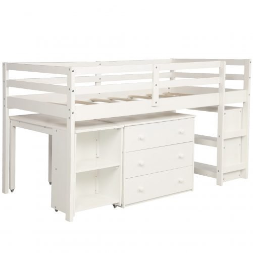 Low Study Twin Loft Bed with Cabinet and Rolling Portable Desk 13
