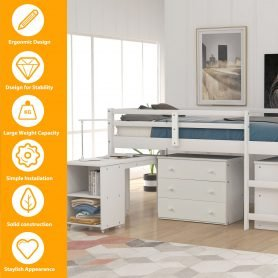 Low Study Twin Loft Bed with Cabinet and Rolling Portable Desk 23