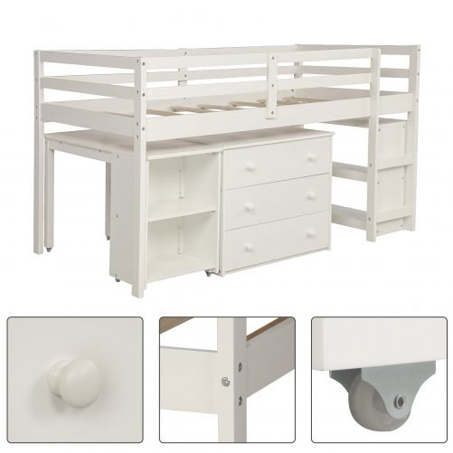 Low Study Twin Loft Bed with Cabinet and Rolling Portable Desk 7