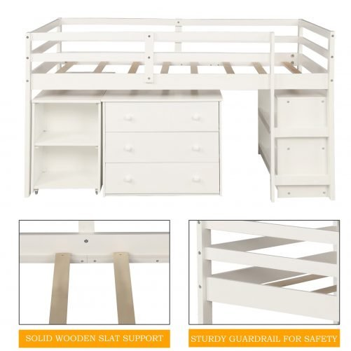 Low Study Twin Loft Bed with Cabinet and Rolling Portable Desk 4