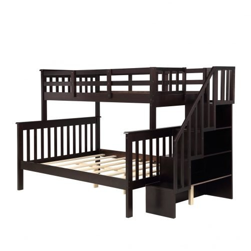 Stairway Twin-Over-Full Bunk Bed with Storage and Guard Rail 10