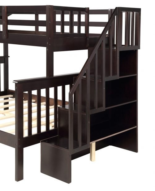 Stairway Twin-Over-Full Bunk Bed with Storage and Guard Rail 4