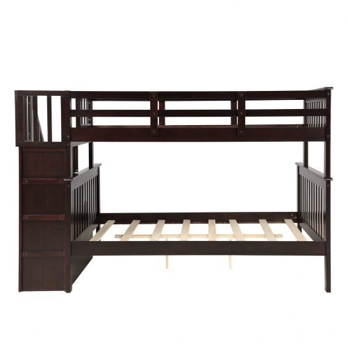 Stairway Twin-Over-Full Bunk Bed with Storage and Guard Rail 15