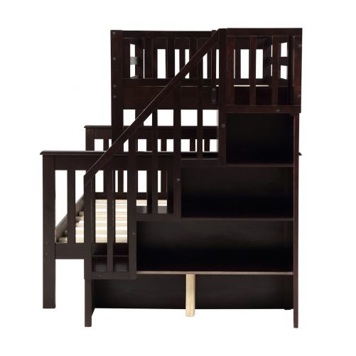 Stairway Twin-Over-Full Bunk Bed with Storage and Guard Rail 2