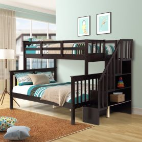 Stairway Twin-Over-Full Bunk Bed with Storage and Guard Rail 1