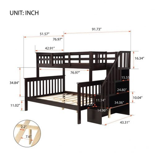 Stairway Twin-Over-Full Bunk Bed with Storage and Guard Rail 9