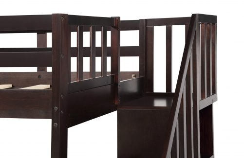 Stairway Twin-Over-Full Bunk Bed with Storage and Guard Rail 8