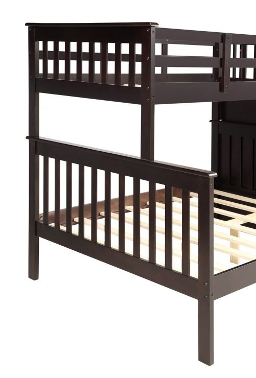 Stairway Twin-Over-Full Bunk Bed with Storage and Guard Rail 5