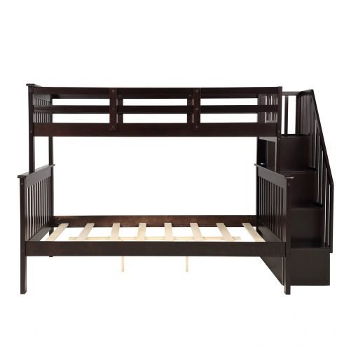Stairway Twin-Over-Full Bunk Bed with Storage and Guard Rail 11