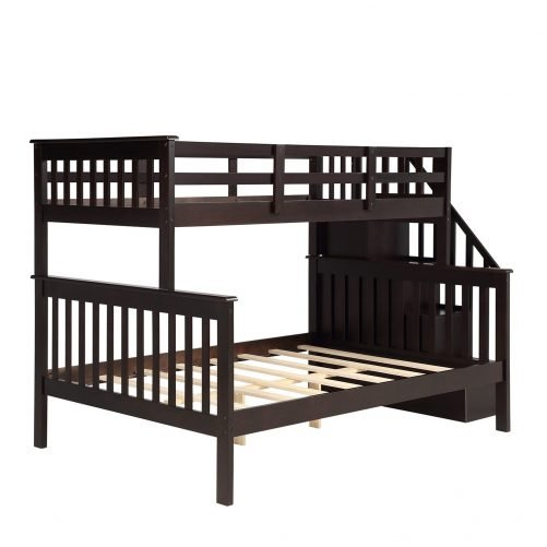 Stairway Twin-Over-Full Bunk Bed with Storage and Guard Rail 12