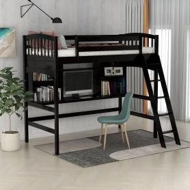 Twin size Loft Bed with Storage Shelves, Desk and Ladder 9