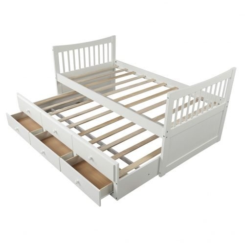 Bed with Trundle and 3 Storage Drawers 4