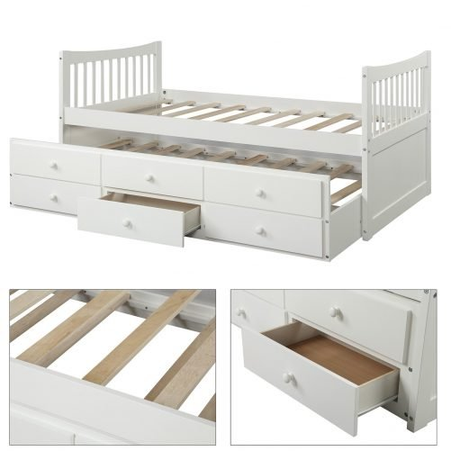 Bed with Trundle and 3 Storage Drawers 16