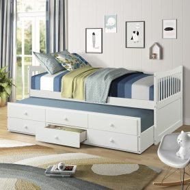 Bed with Trundle and 3 Storage Drawers 5