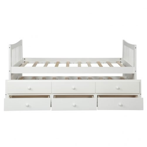 Bed with Trundle and 3 Storage Drawers 28