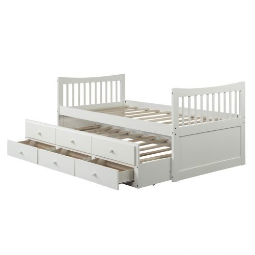 Bed with Trundle and 3 Storage Drawers 34