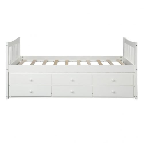 Bed with Trundle and 3 Storage Drawers 10