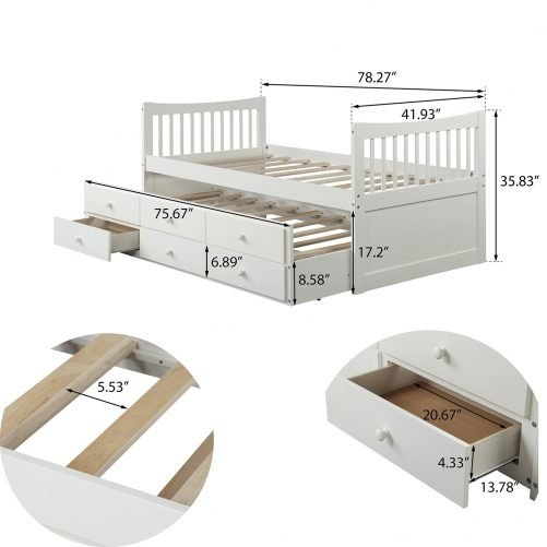 Bed with Trundle and 3 Storage Drawers 24