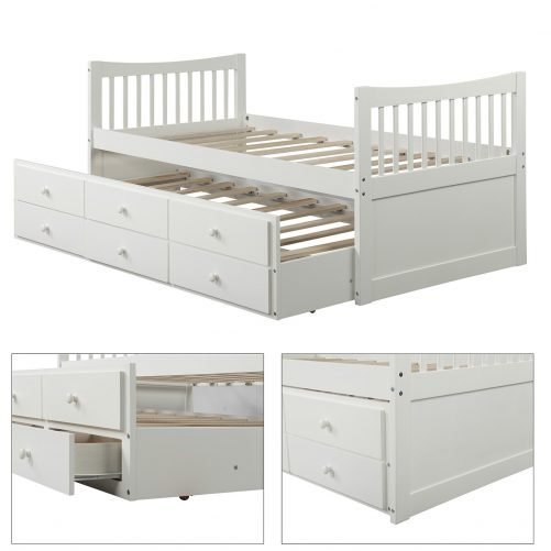 Bed with Trundle and 3 Storage Drawers 20