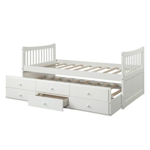 Bed with Trundle and 3 Storage Drawers 30