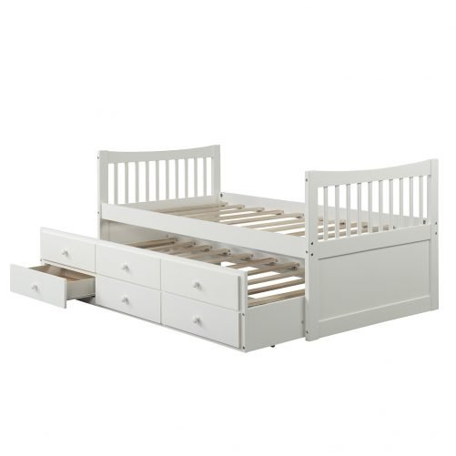 Bed with Trundle and 3 Storage Drawers 9