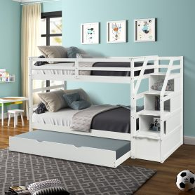 Twin-Over-Twin Trundle Bunk Bed with 4 Storage Drwers 10