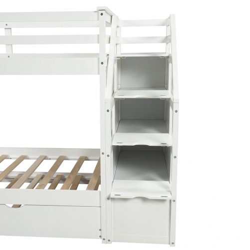 Twin-Over-Twin Trundle Bunk Bed with 4 Storage Drwers 14
