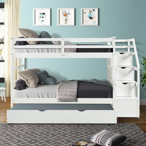 Twin-Over-Twin Trundle Bunk Bed with 4 Storage Drwers 12
