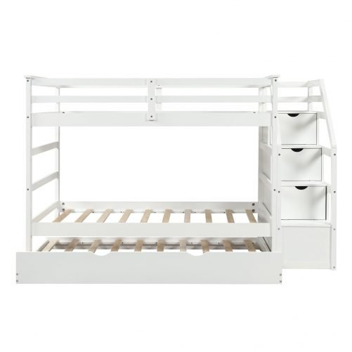 Twin-Over-Twin Trundle Bunk Bed with 4 Storage Drwers 16
