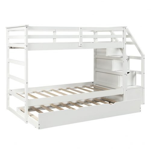 Twin-Over-Twin Trundle Bunk Bed with 4 Storage Drwers 4