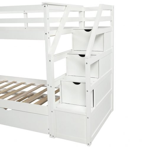 Twin-Over-Twin Trundle Bunk Bed with 4 Storage Drwers 22