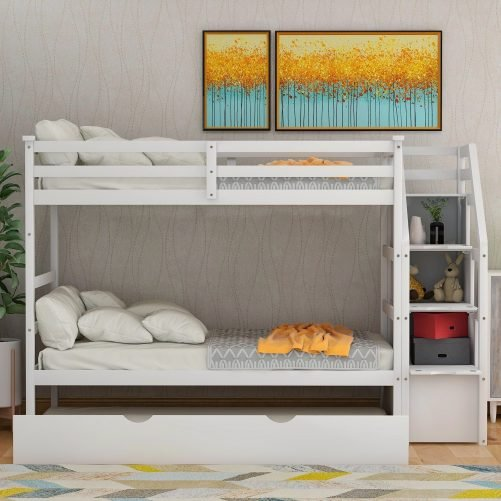Twin-Over-Twin Trundle Bunk Bed with 4 Storage Drwers 30
