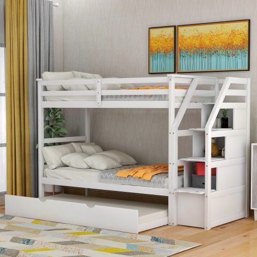 Twin-Over-Twin Trundle Bunk Bed with 4 Storage Drwers 28