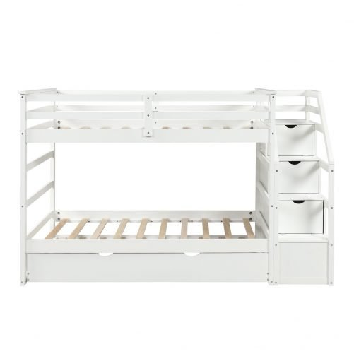 Twin-Over-Twin Trundle Bunk Bed with 4 Storage Drwers 19