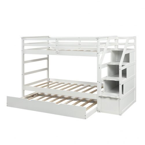 Twin-Over-Twin Trundle Bunk Bed with 4 Storage Drwers 13