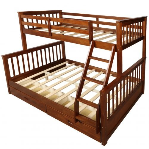 Twin-Over-Full Bunk Bed with Ladders and Two Drawers 16