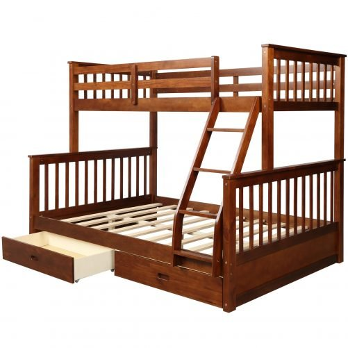Twin-Over-Full Bunk Bed with Ladders and Two Drawers 24